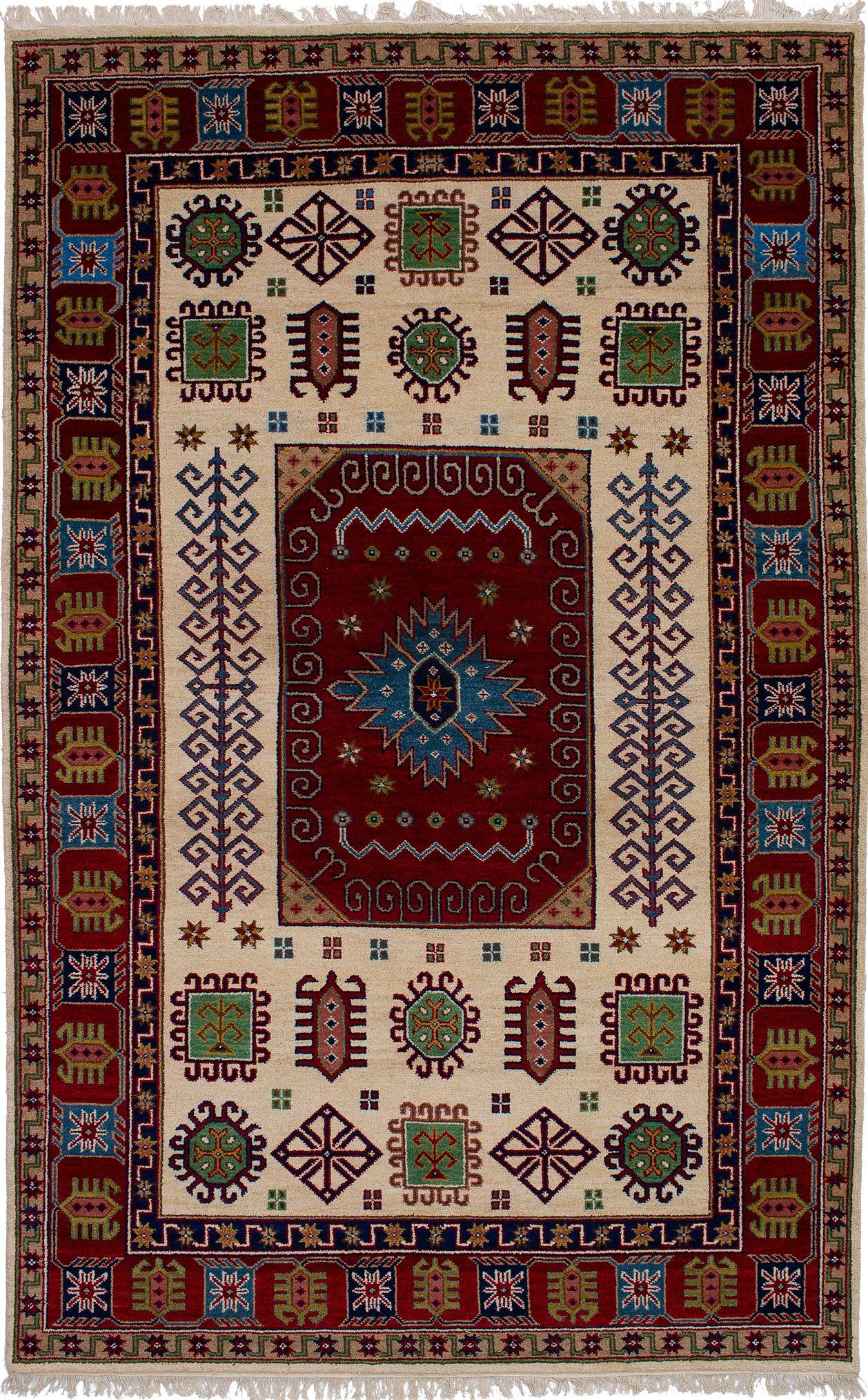"""Hand-knotted Finest Kazak Cream, Dark Red Wool Rug 6'5"""" x 10'4"""" Size: 6'5"""" x 10'4"""""""