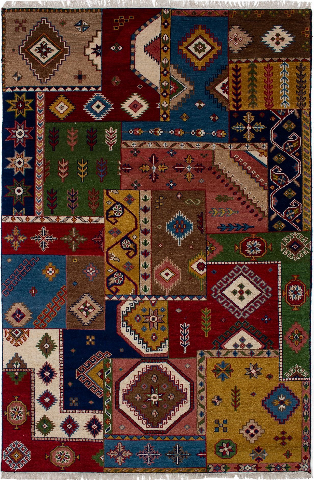 "Hand-knotted Finest Kazak Blue, Brown Wool Rug 6'4"" x 9'7"" Size: 6'4"" x 9'7"""