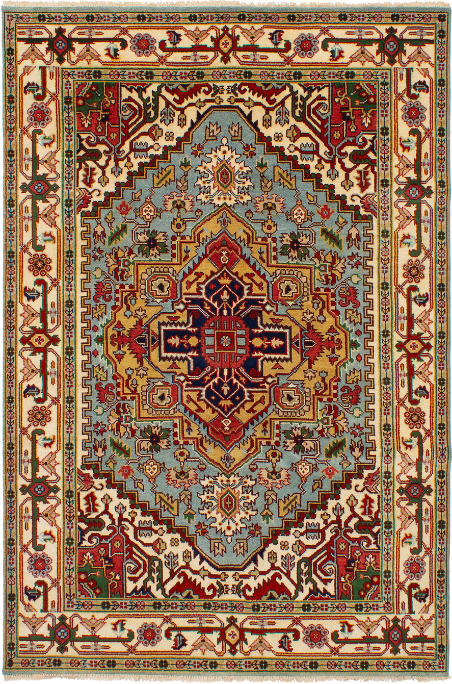 """Hand-knotted Serapi Heritage Light Blue  Wool Rug 6'0"""" x 9'0""""  Size: 6'0"""" x 9'0"""""""