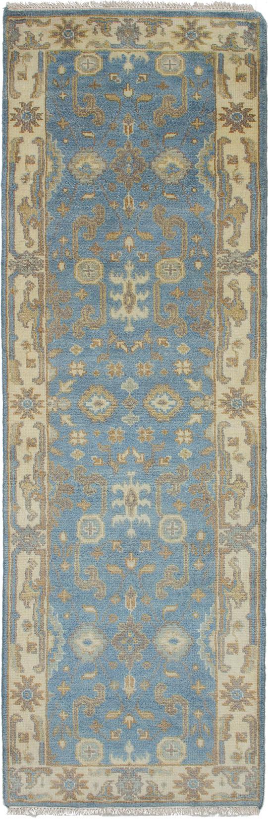 "Hand-knotted Royal Ushak Sky Blue Wool Rug 2'7"" x 7'11""  Size: 2'7"" x 7'11"""