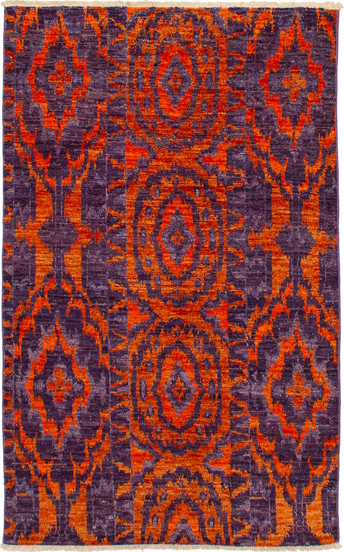 """Hand-knotted Shalimar Indigo, Orange Wool Rug 4'7"""" x 7'2"""" Size: 4'7"""" x 7'2"""""""