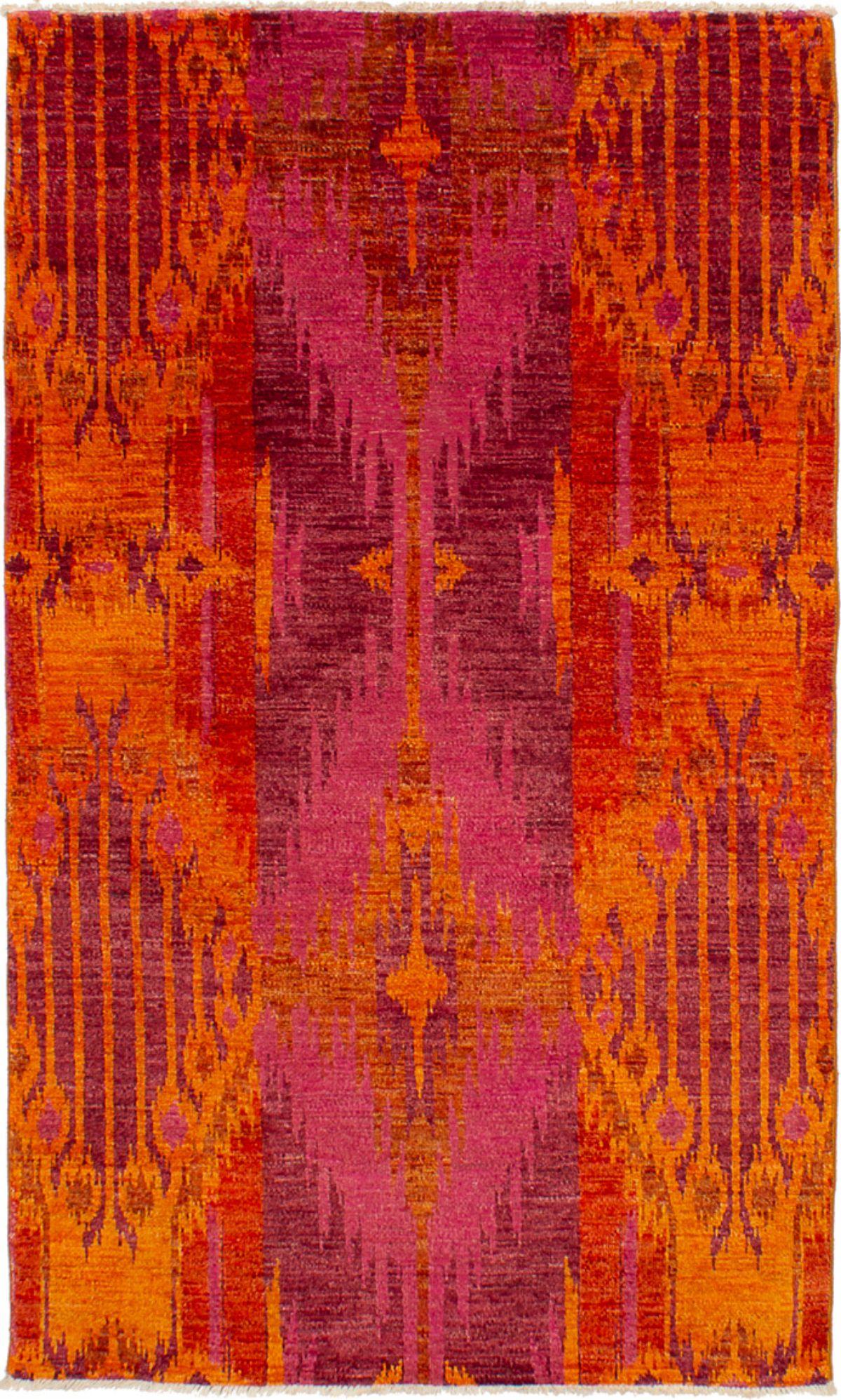 "Hand-knotted Shalimar Orange Wool Rug 4'6"" x 7'5"" Size: 4'6"" x 7'5"""