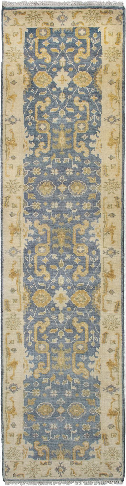 "Hand-knotted Royal Ushak Light Denim Blue Wool Rug 2'6"" x 9'11"" Size: 2'6"" x 9'11"""