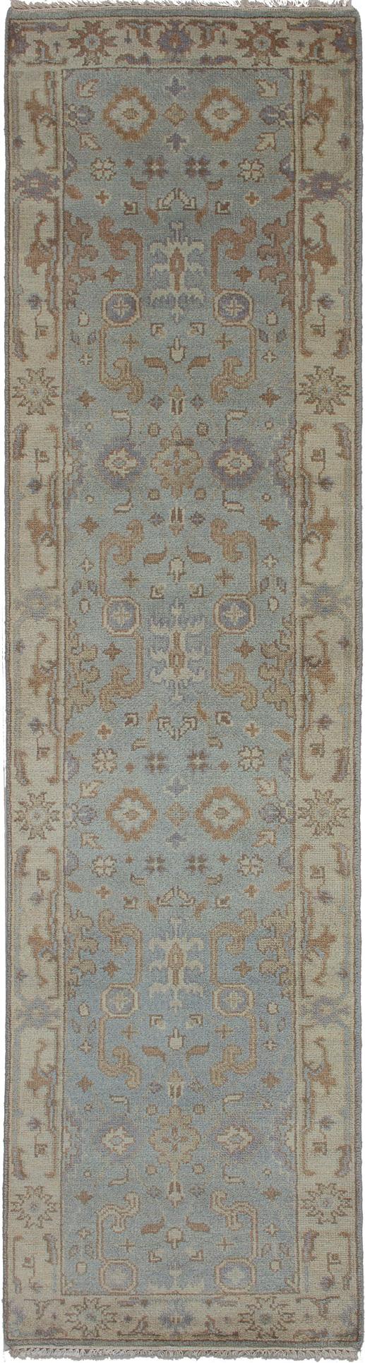 "Hand-knotted Royal Ushak Light Blue  Wool Rug 2'7"" x 9'9""  Size: 2'7"" x 9'9"""