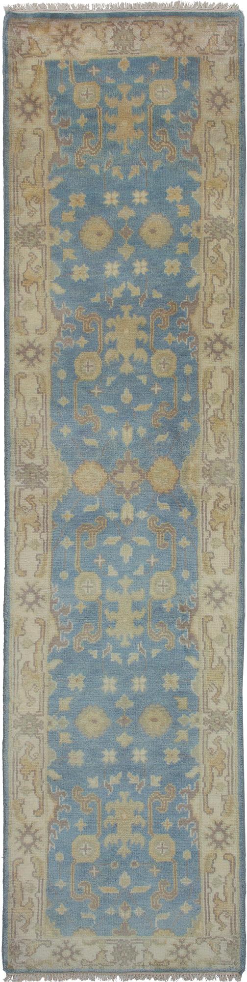 "Hand-knotted Royal Ushak Sky Blue Wool Rug 2'6"" x 10'0"" Size: 2'6"" x 10'0"""