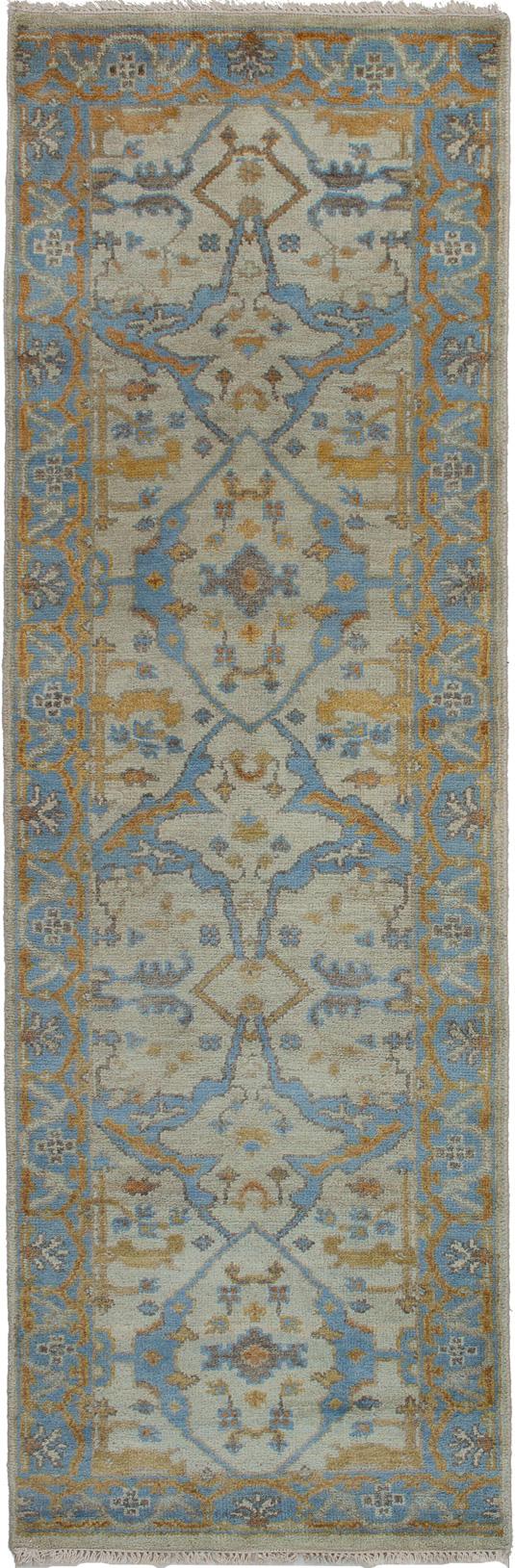 "Hand-knotted Royal Ushak Blue Wool Rug 2'8"" x 8'2"" Size: 2'8"" x 8'2"""