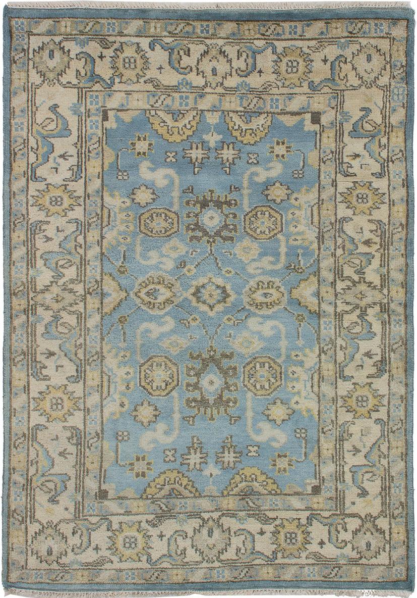 "Hand-knotted Royal Ushak Sky Blue Wool Rug 4'2"" x 5'1"" Size: 4'2"" x 5'1"""