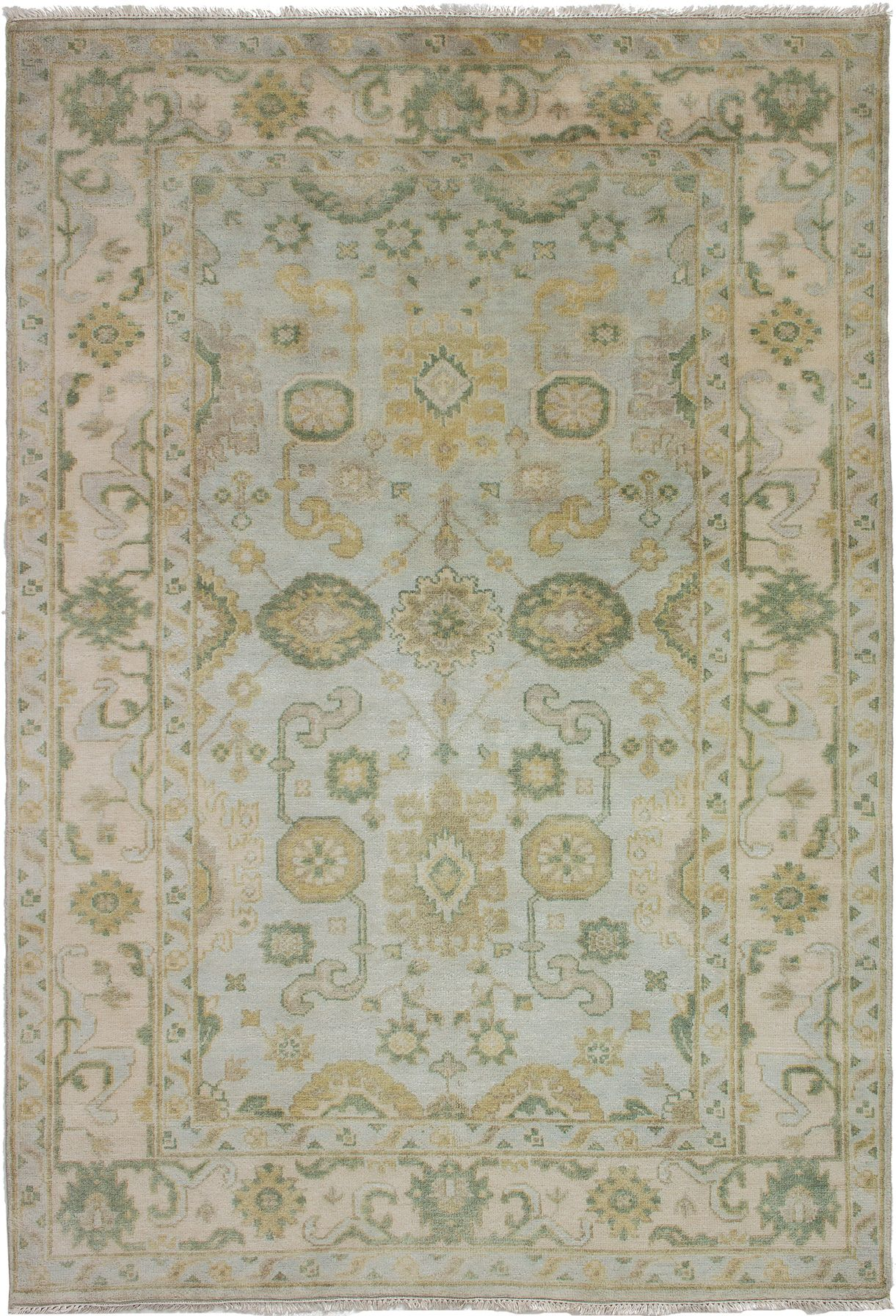 "Hand-knotted Royal Ushak Light Blue  Wool Rug 6'2"" x 9'0"" Size: 6'2"" x 9'0"""