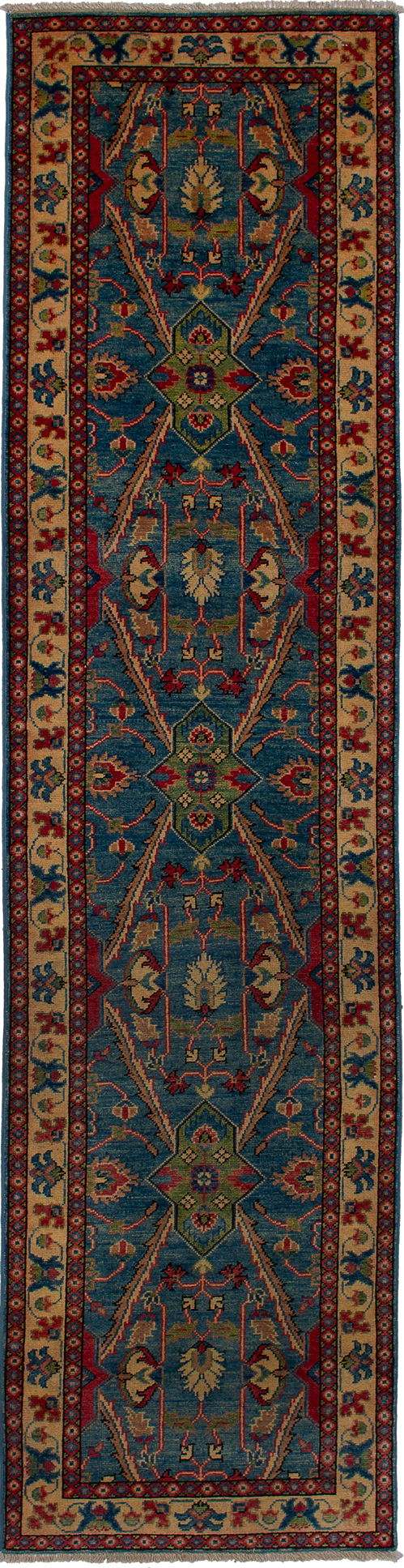"""Hand-knotted Finest Gazni Blue Wool Rug 2'5"""" x 9'9"""" Size: 2'5"""" x 9'9"""""""