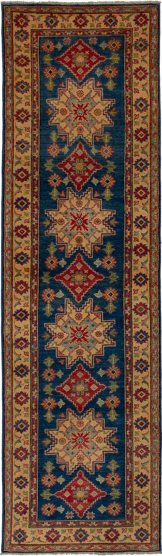 """Hand-knotted Finest Gazni Navy Blue Wool Rug 2'7"""" x 9'7"""" Size: 2'7"""" x 9'7"""""""