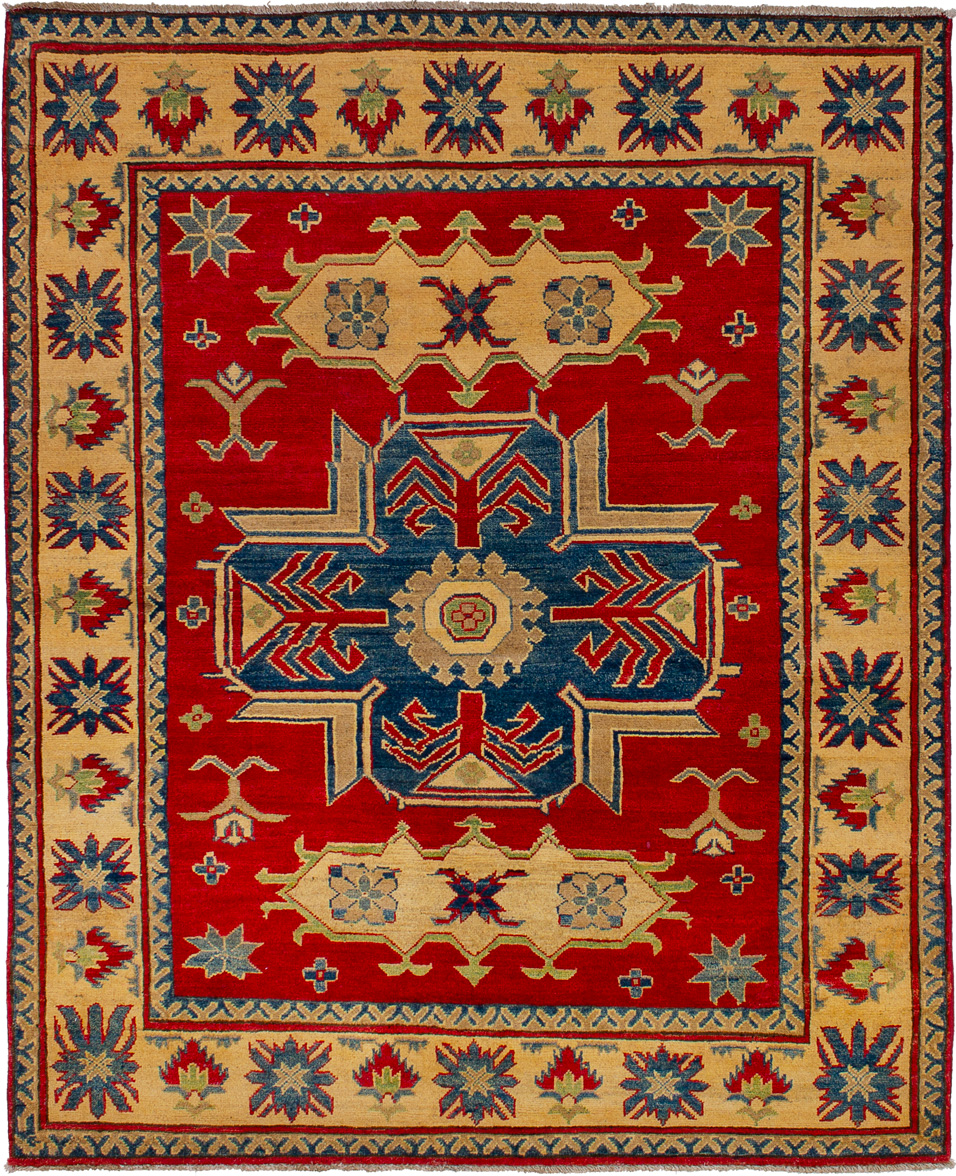 """Hand-knotted Finest Gazni Red Wool Rug 4'11"""" x 6'1""""  Size: 4'11"""" x 6'1"""""""