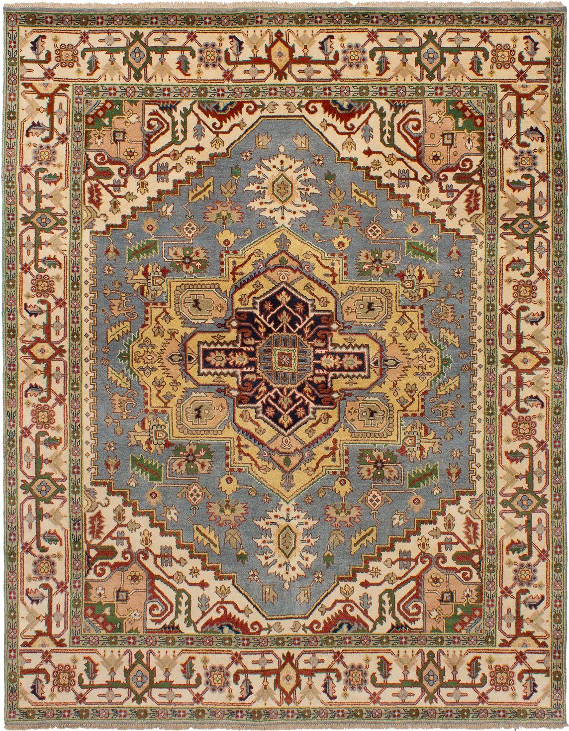"Hand-knotted Serapi Heritage Light Denim Blue Wool Rug 7'10"" x 10'1"" Size: 7'10"" x 10'1"""