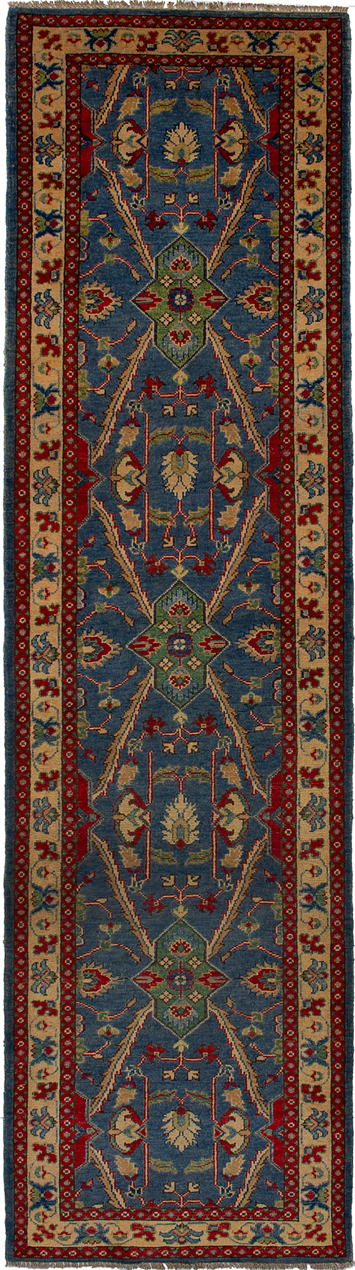 """Hand-knotted Finest Gazni Blue Wool Rug 2'9"""" x 10'3""""  Size: 2'9"""" x 10'3"""""""