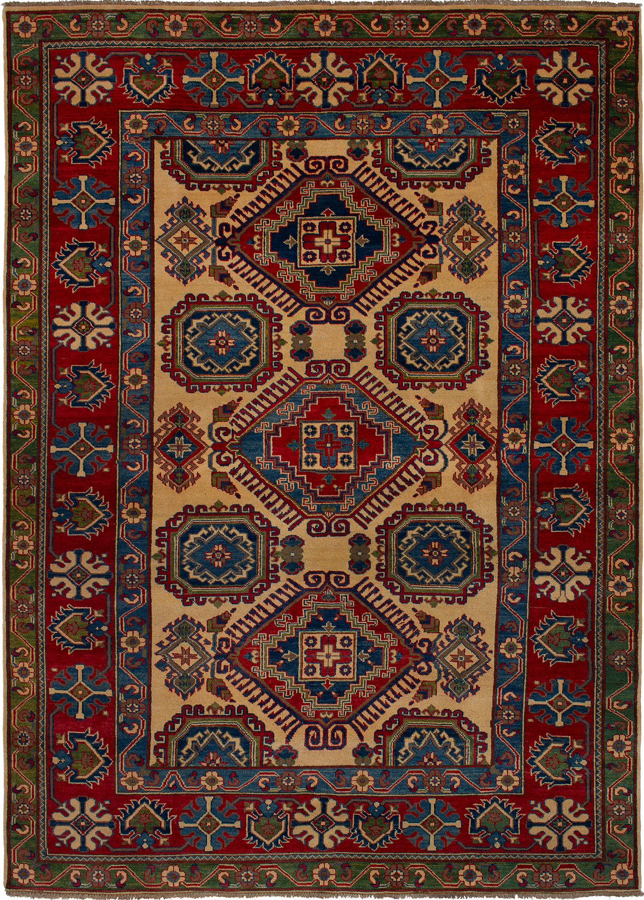 """Hand-knotted Finest Gazni Blue, Red Wool Rug 6'6"""" x 9'4"""" Size: 6'6"""" x 9'4"""""""