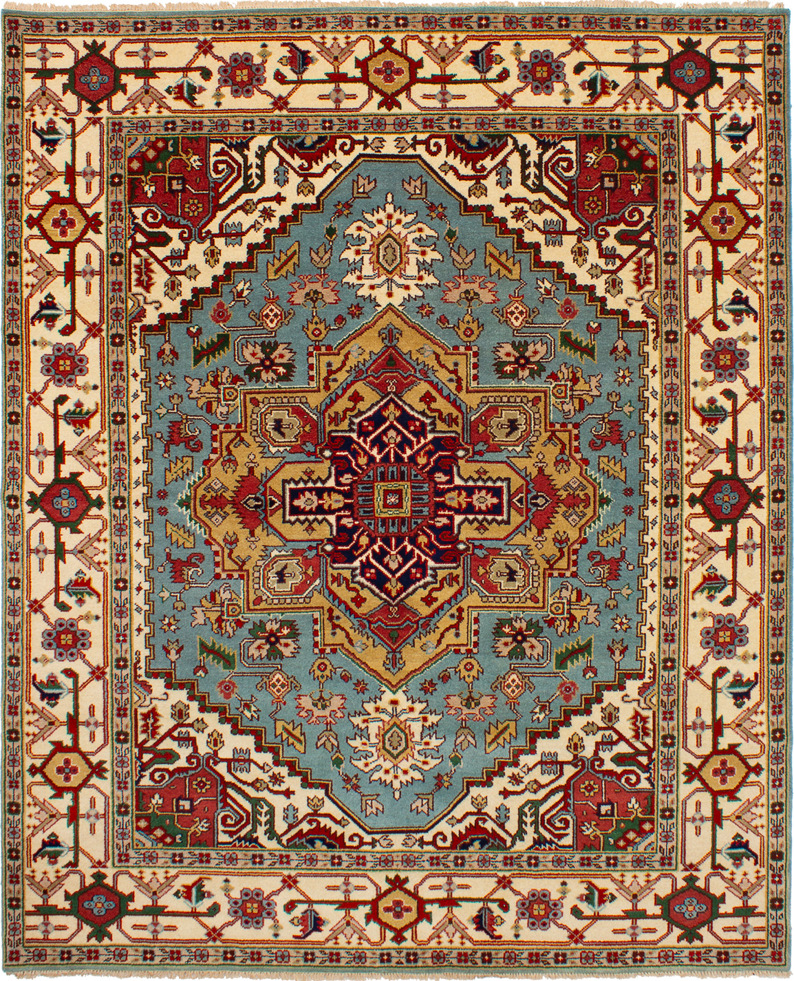 """Hand-knotted Serapi Heritage Light Blue  Wool Rug 7'11"""" x 9'9"""" Size: 7'11"""" x 9'9"""""""