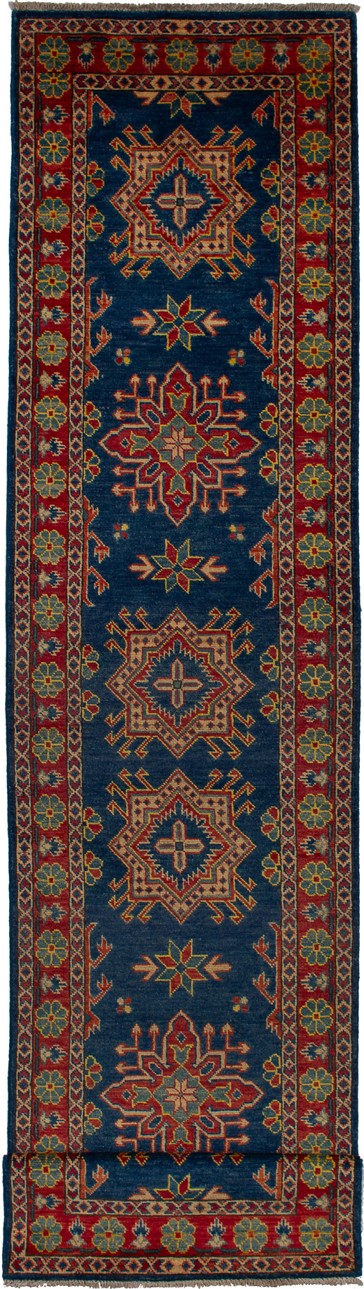 """Hand-knotted Finest Gazni Navy Blue Wool Rug 2'7"""" x 11'8"""" Size: 2'7"""" x 11'8"""""""