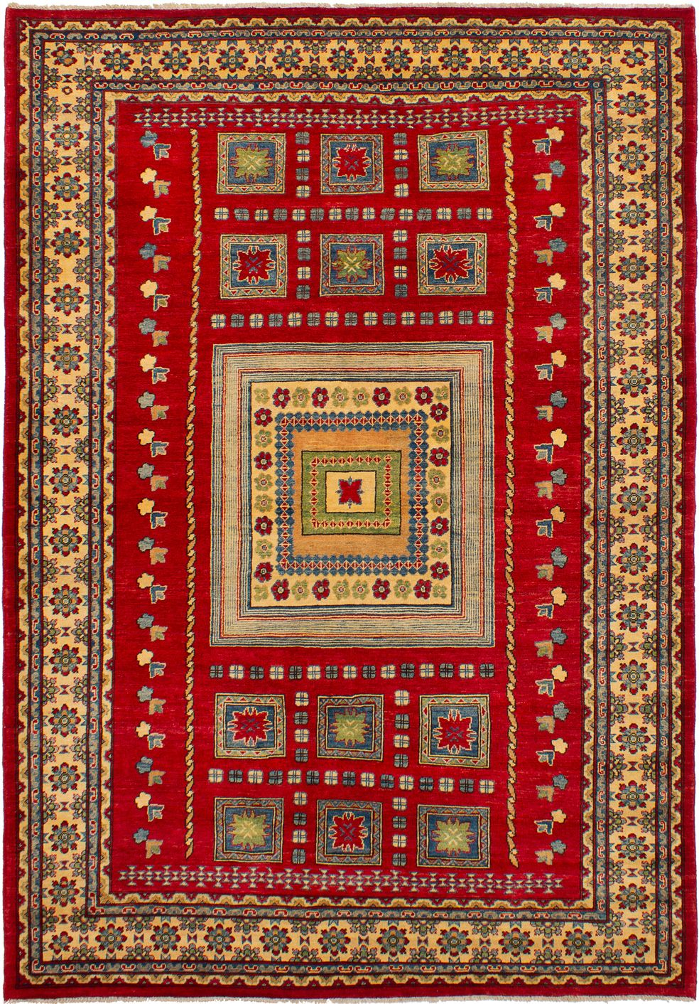 """Hand-knotted Finest Gazni Red Wool Rug 6'8"""" x 9'8""""  Size: 6'8"""" x 9'8"""""""