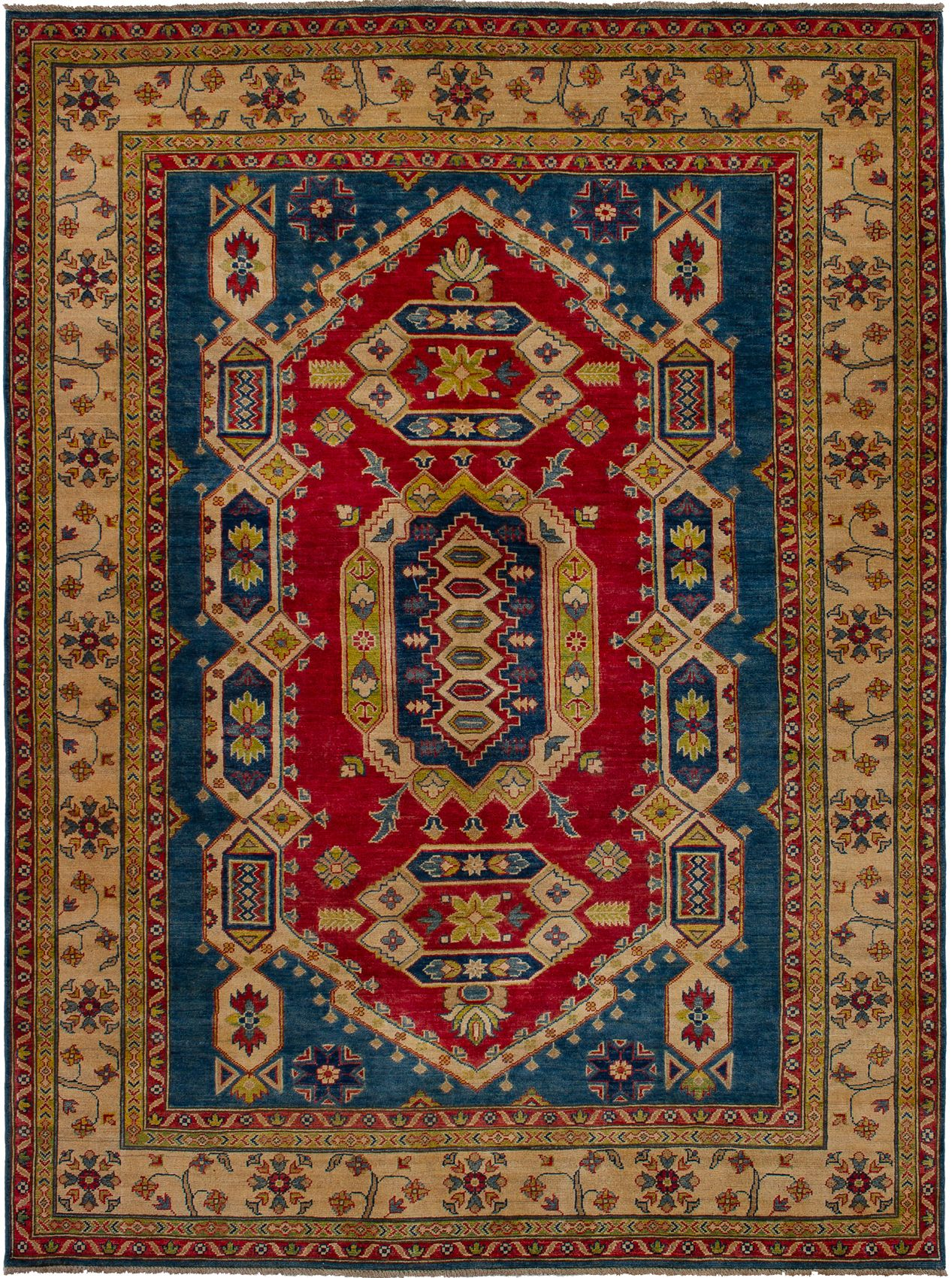 """Hand-knotted Finest Gazni Blue, Red Wool Rug 6'7"""" x 8'9"""" Size: 6'7"""" x 8'9"""""""