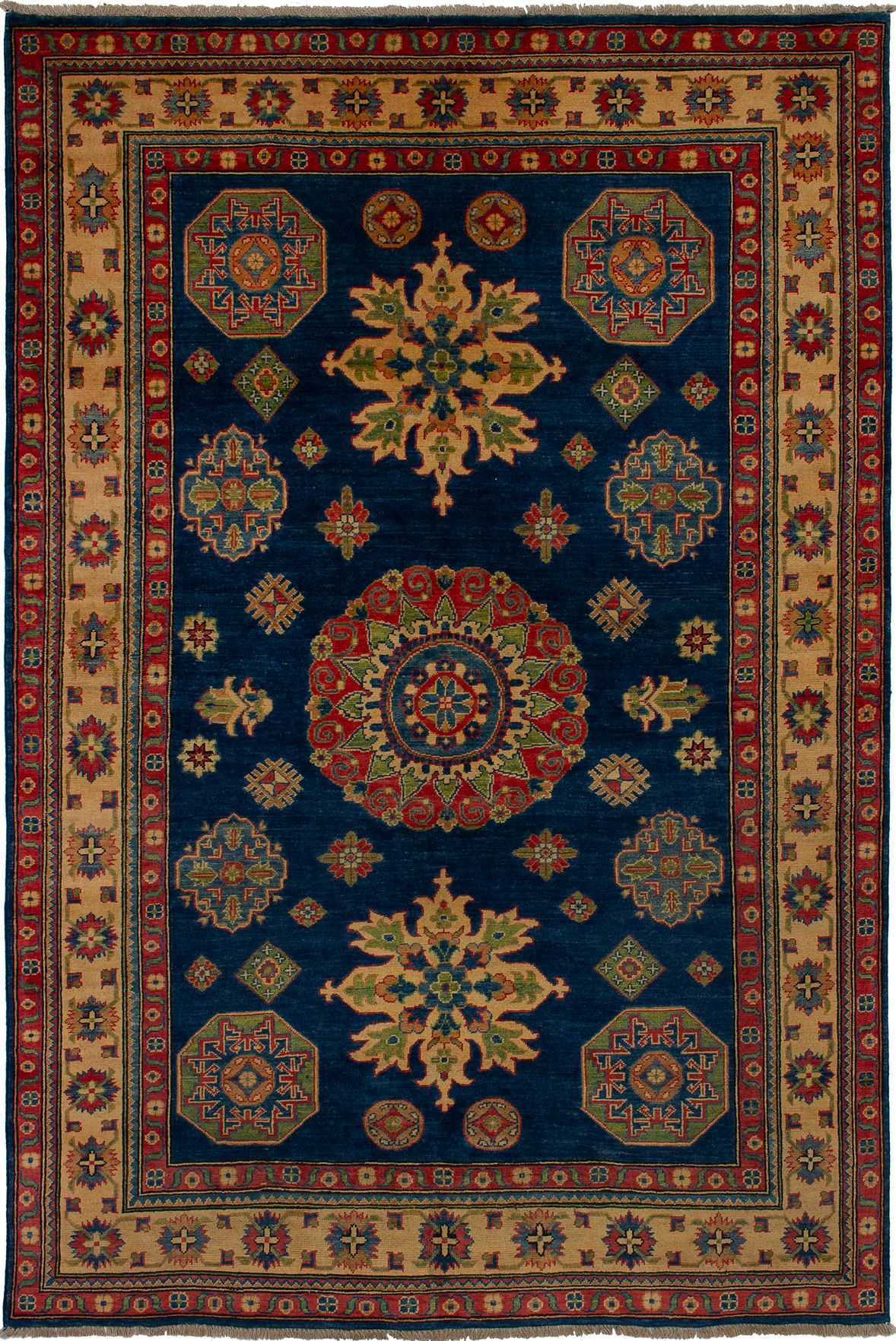 """Hand-knotted Finest Gazni Navy Blue Wool Rug 6'1"""" x 9'0"""" Size: 6'1"""" x 9'0"""""""