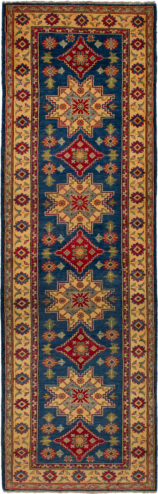 """Hand-knotted Finest Gazni Blue Wool Rug 2'10"""" x 9'0"""" Size: 2'10"""" x 9'0"""""""