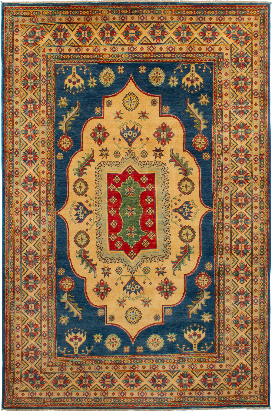 "Hand-knotted Finest Gazni Dark Blue, Ivory Wool Rug 6'7"" x 10'0"" Size: 6'7"" x 10'0"""