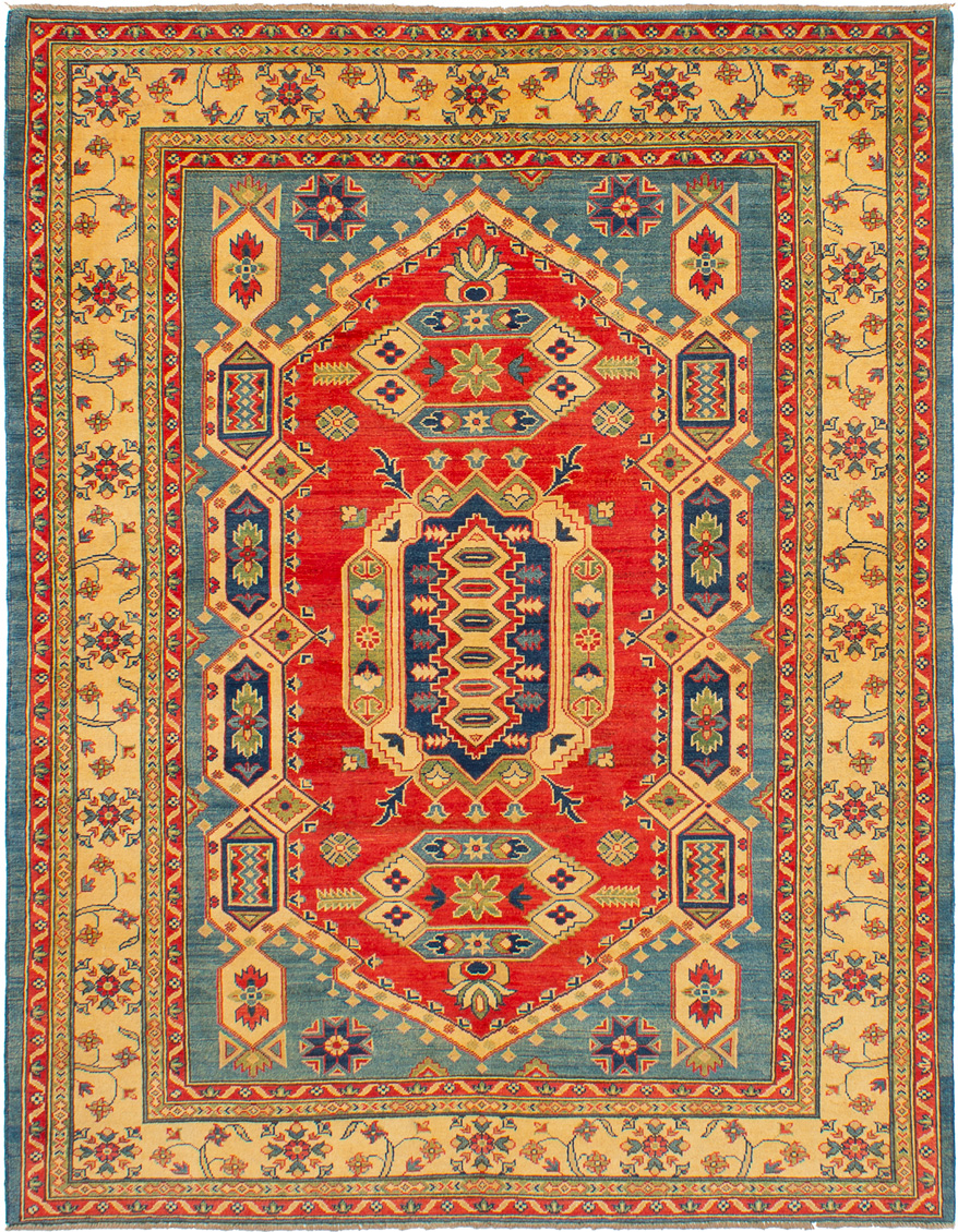 """Hand-knotted Finest Gazni Light Blue , Light Red Wool Rug 6'5"""" x 8'3"""" Size: 6'5"""" x 8'3"""""""