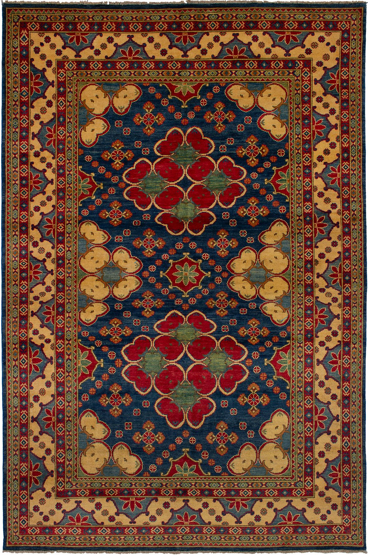 """Hand-knotted Finest Gazni Navy Blue Wool Rug 6'6"""" x 9'10"""" Size: 6'6"""" x 9'10"""""""
