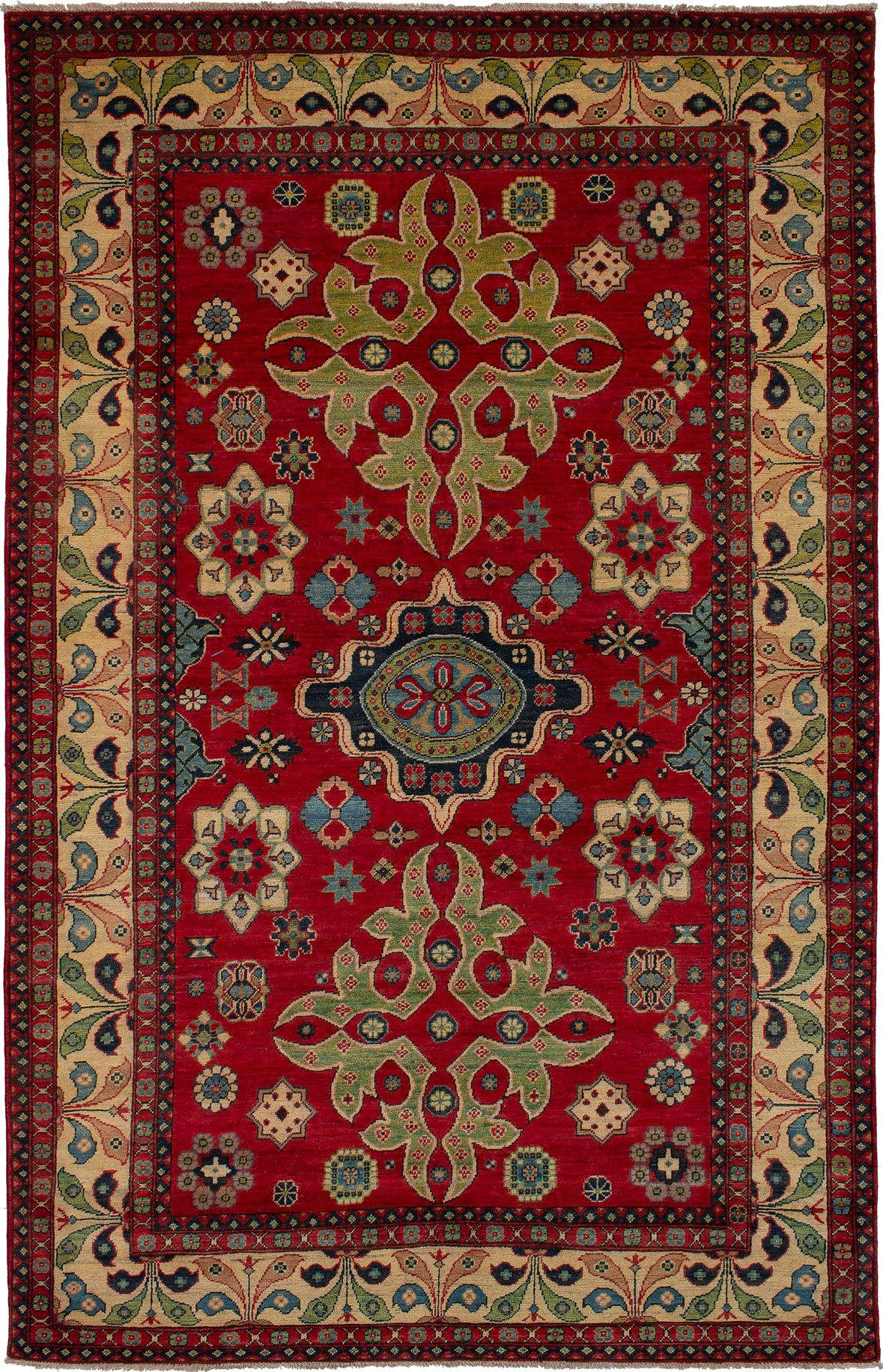 """Hand-knotted Finest Gazni Red Wool Rug 6'5"""" x 10'2""""  Size: 6'5"""" x 10'2"""""""