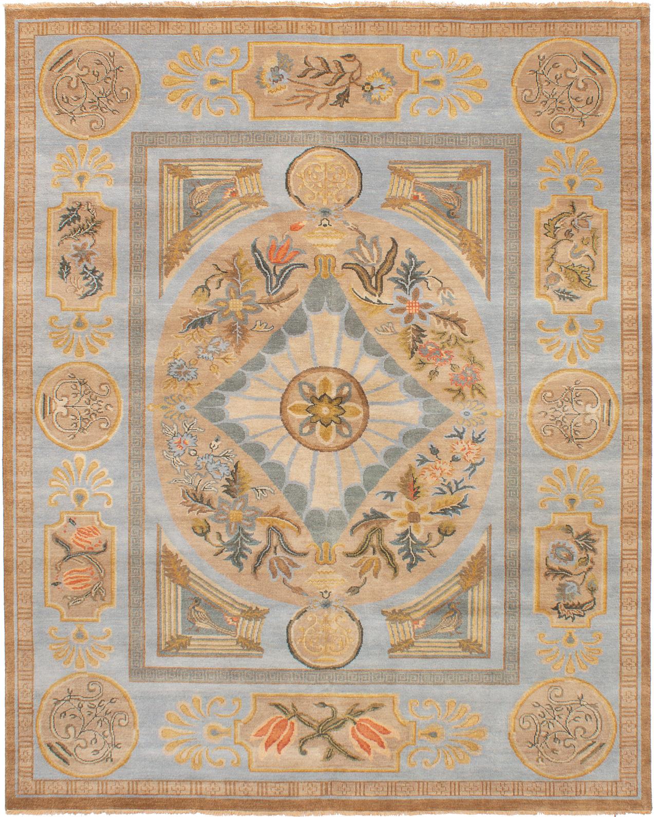 "Hand-knotted Jules Serapi Light Blue , Tan Wool Rug 7'11"" x 9'11"" Size: 7'11"" x 9'11"""