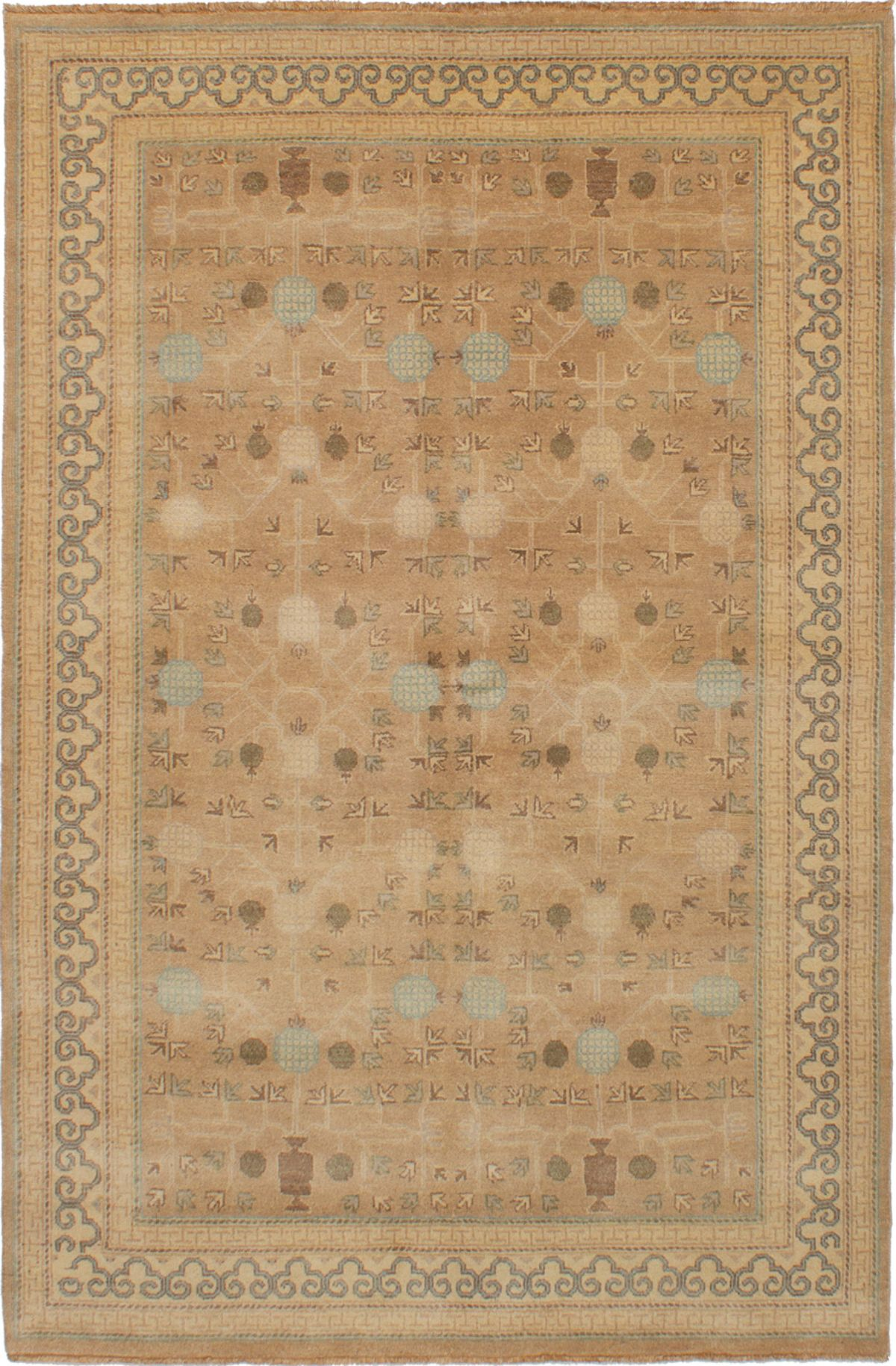"""Hand-knotted Elysee Finest Ushak Tan Wool Rug 5'6"""" x 8'4"""" Size: 5'6"""" x 8'4"""""""