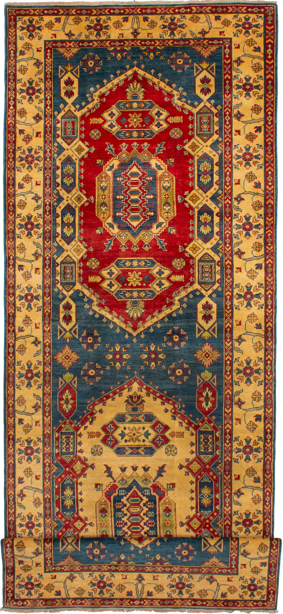 """Hand-knotted Finest Gazni Blue, Red Wool Rug 5'7"""" x 20'11"""" Size: 5'7"""" x 20'11"""""""