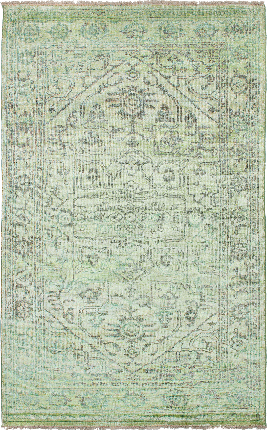"""Hand-knotted Jules Ushak Lime  Rug 5'0"""" x 8'0"""" Size: 5'0"""" x 8'0"""""""