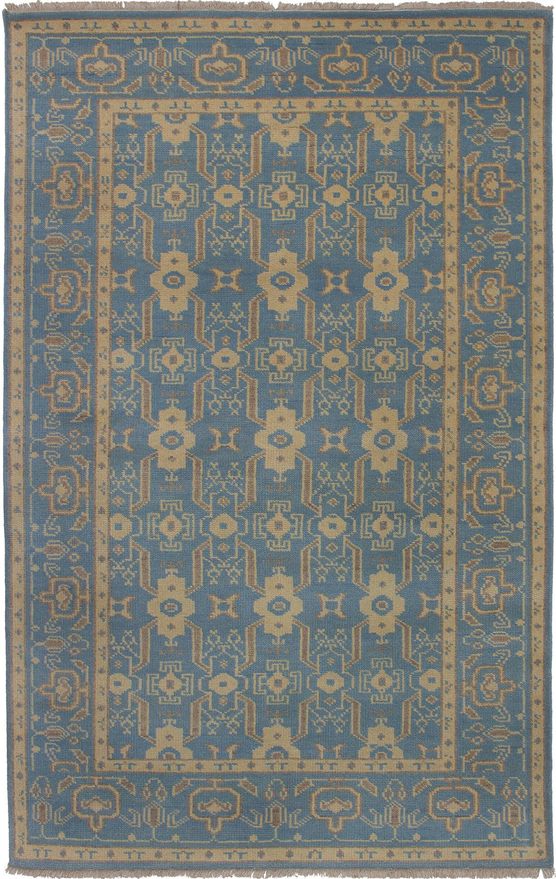 """Hand-knotted Eternity Blue  Rug 5'0"""" x 8'0"""" Size: 5'0"""" x 8'0"""""""