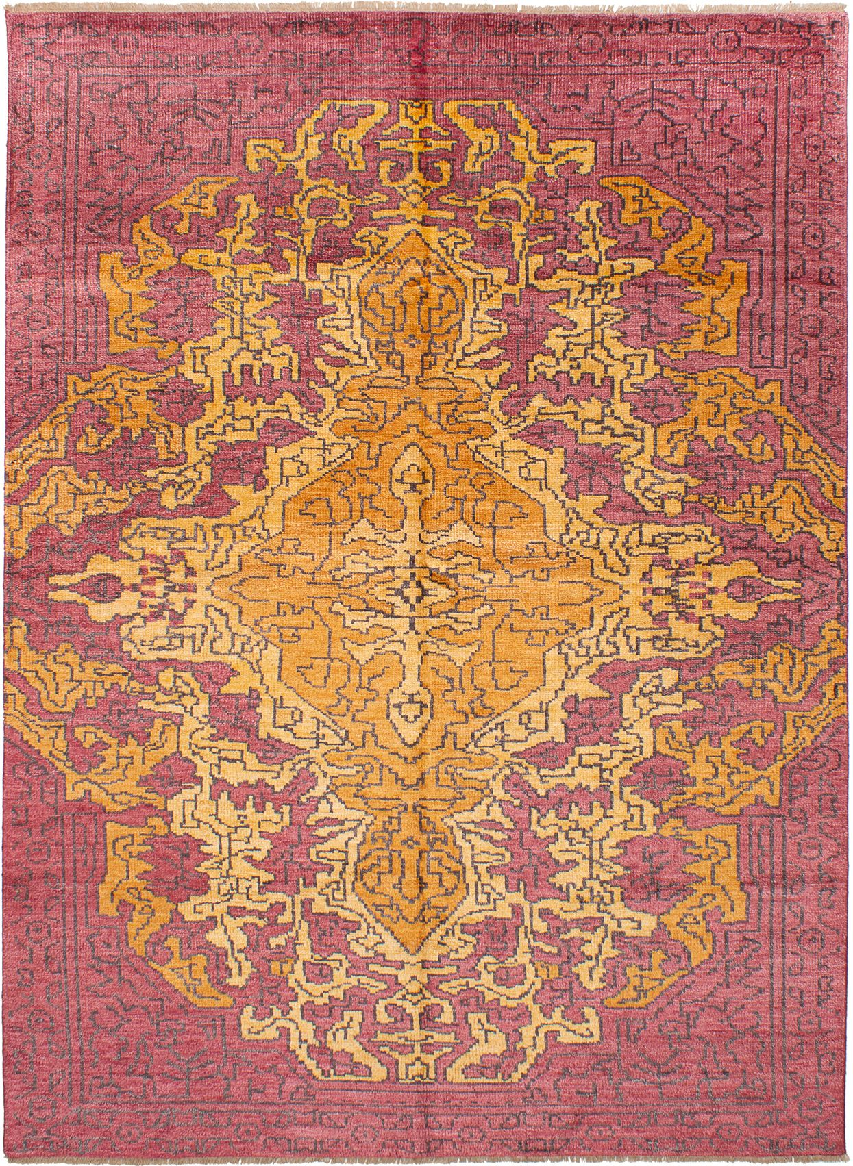 """Hand-knotted Jules Ushak Dark Red  Rug 7'4"""" x 10'0"""" Size: 7'4"""" x 10'0"""""""