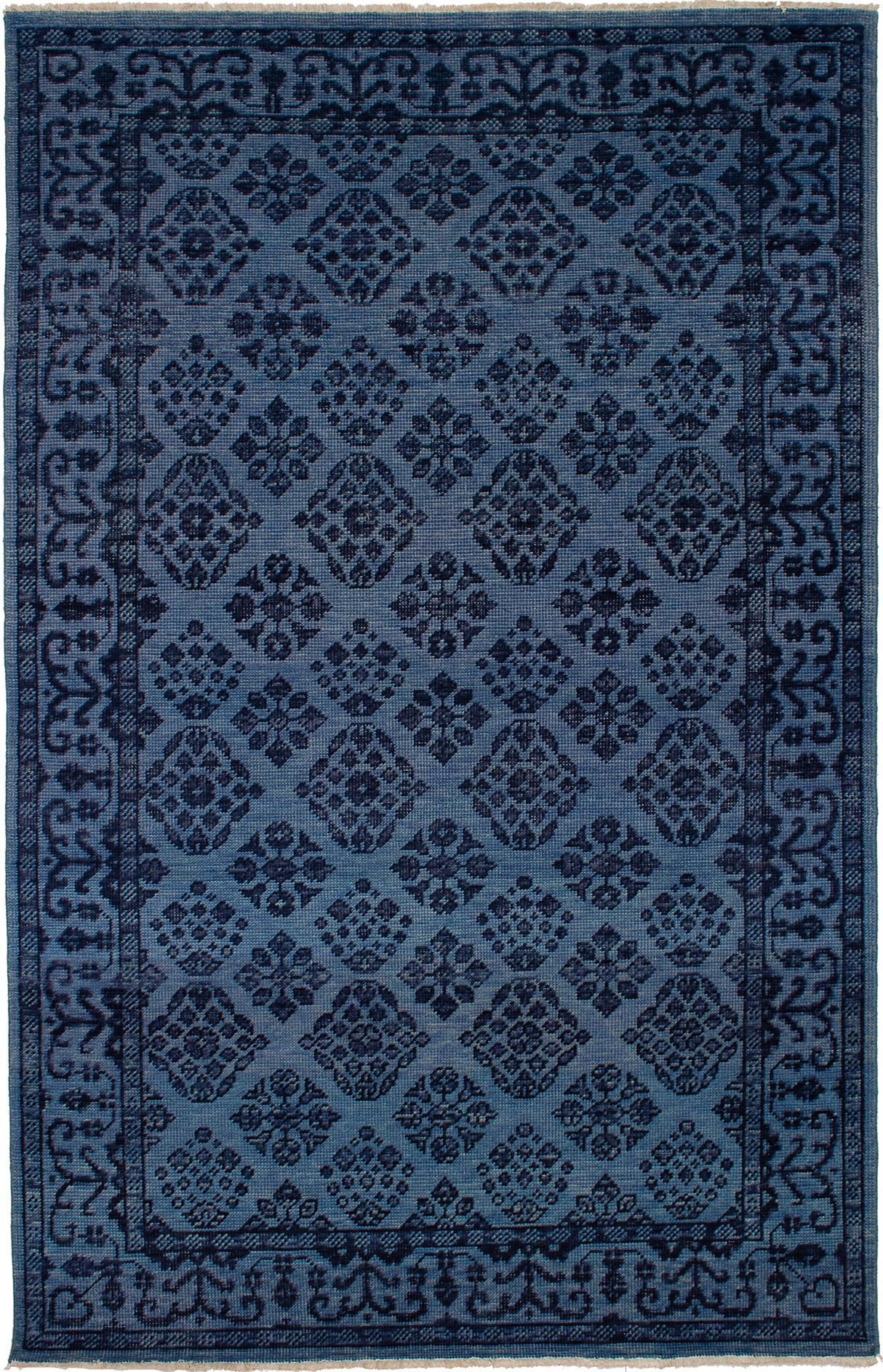 """Hand-knotted Beaumont Blue Wool Rug 5'4"""" x 8'4"""" Size: 5'4"""" x 8'4"""""""