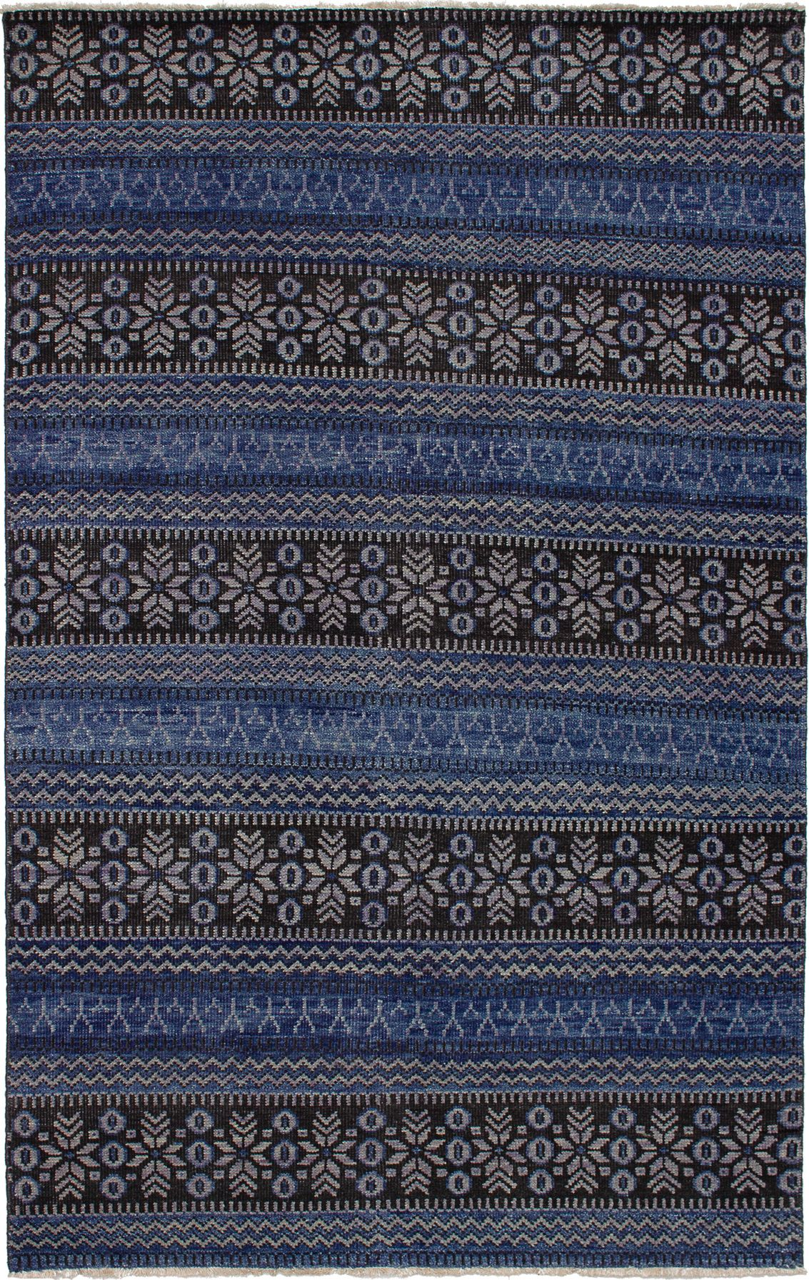 """Hand-knotted Sierra Blue Wool Rug 5'0"""" x 7'11"""" Size: 5'0"""" x 7'11"""""""