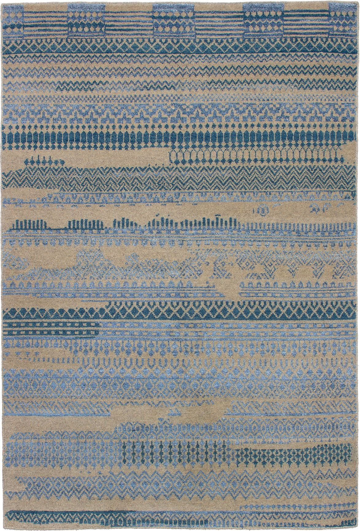 "Hand-knotted La Seda Light Blue   Rug 5'2"" x 7'9"" Size: 5'2"" x 7'9"""