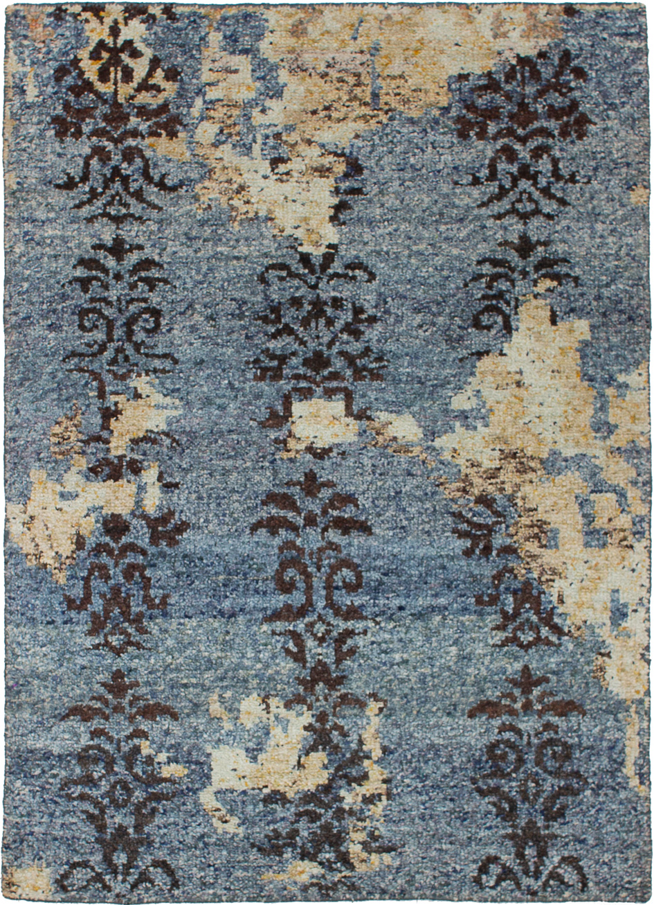 "Hand-knotted Sari Silk Blue  Rug 4'2"" x 5'10"" Size: 4'2"" x 5'10"""