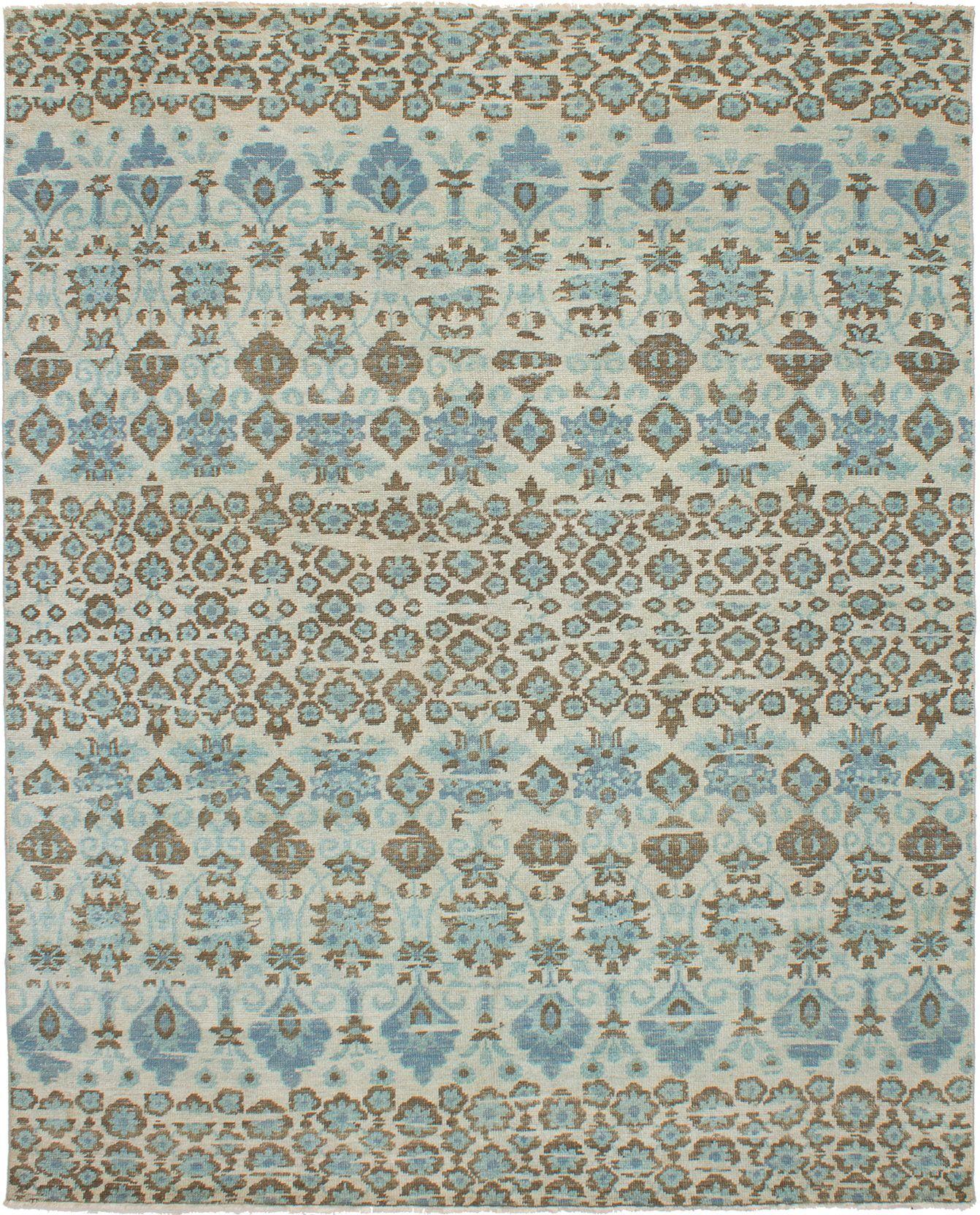 "Hand-knotted Sierra Light Blue , Light Grey Wool Rug 7'11"" x 9'9"" Size: 7'11"" x 9'9"""