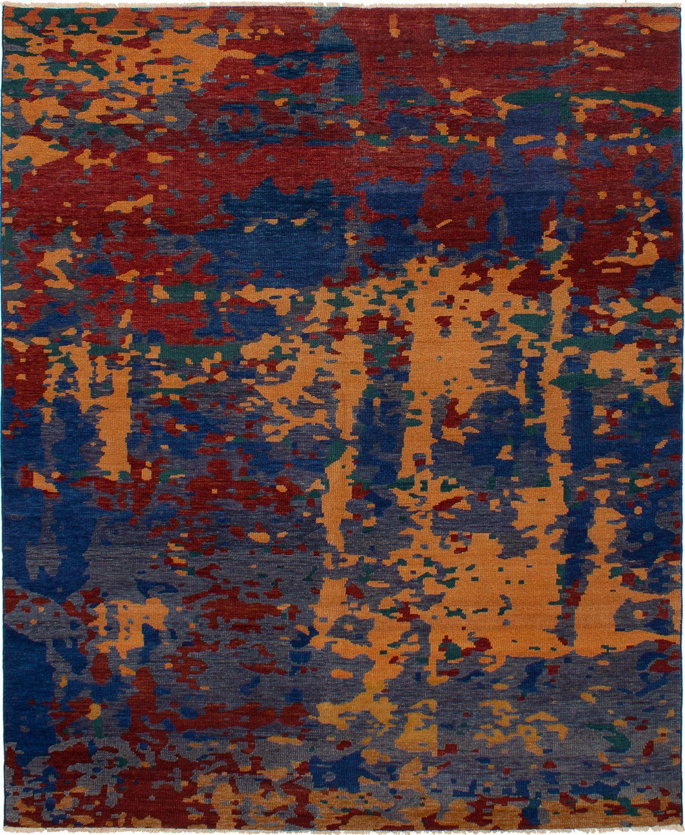"""Hand-knotted Sierra Dark Red, Navy Blue Wool Rug 8'2"""" x 9'10"""" Size: 8'2"""" x 9'10"""""""