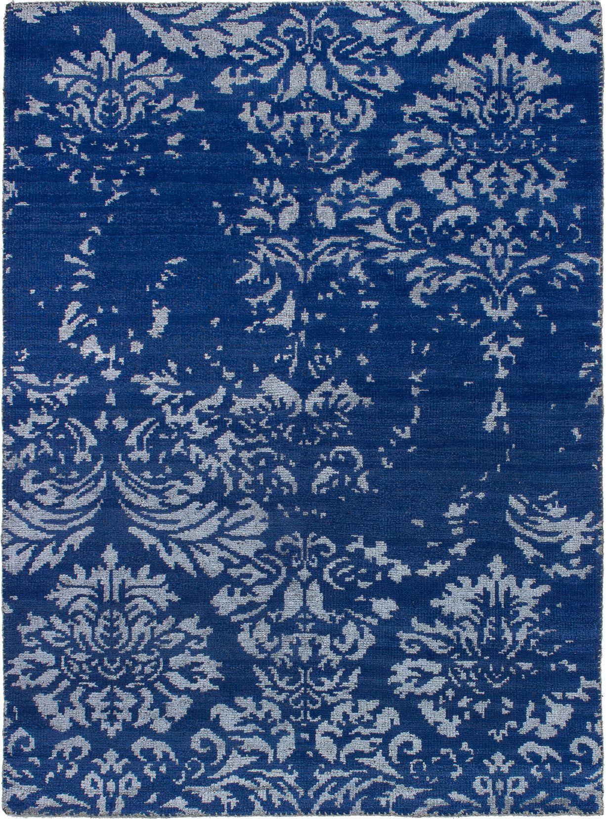 "Hand-knotted La Seda Dark Blue  Rug 5'4"" x 7'5"" Size: 5'4"" x 7'5"""