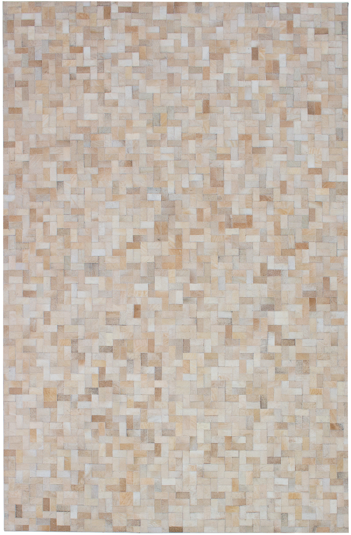 """Handmade Cowhide Patchwork Ivory Leather Rug 5'2"""" x 8'0"""" Size: 5'2"""" x 8'0"""""""