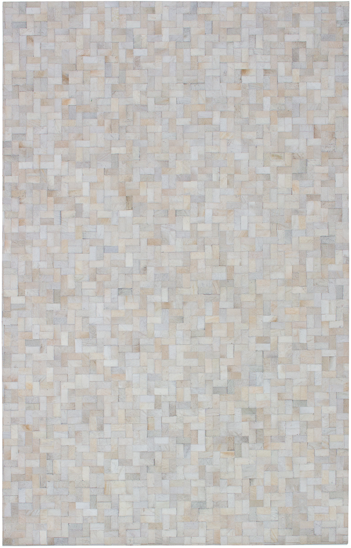 """Handmade Cowhide Patchwork Ivory Leather Rug 5'0"""" x 7'11"""" Size: 5'0"""" x 7'11"""""""