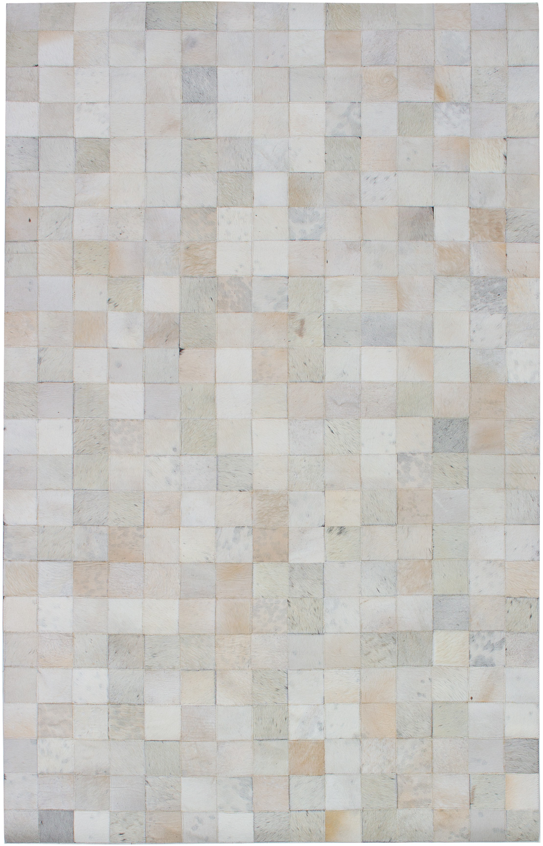 """Handmade Cowhide Patchwork Cream Leather Rug 4'11"""" x 7'11"""" Size: 4'11"""" x 7'11"""""""