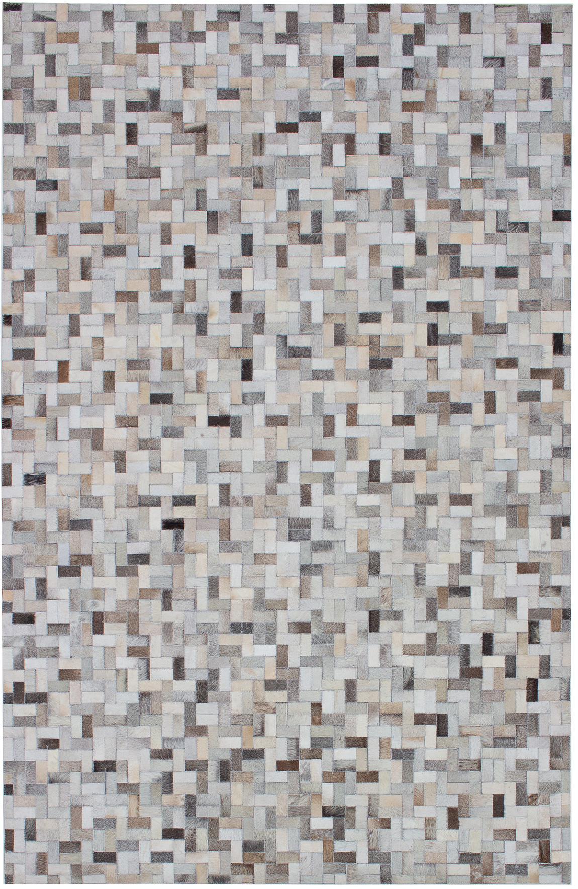 """Handmade Cowhide Patchwork Light Grey Leather Rug 5'2"""" x 8'0"""" Size: 5'2"""" x 8'0"""""""