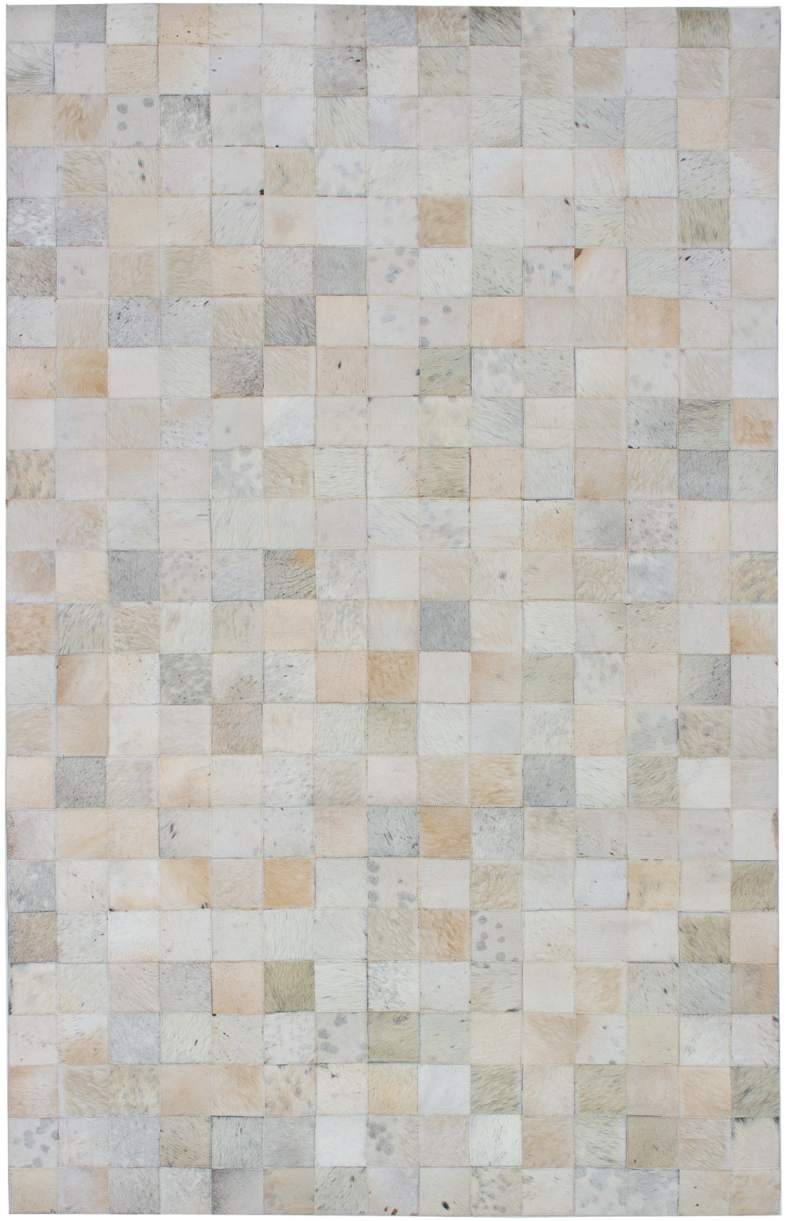 """Handmade Cowhide Patchwork Beige Leather Rug 5'0"""" x 7'11"""" Size: 5'0"""" x 7'11"""""""