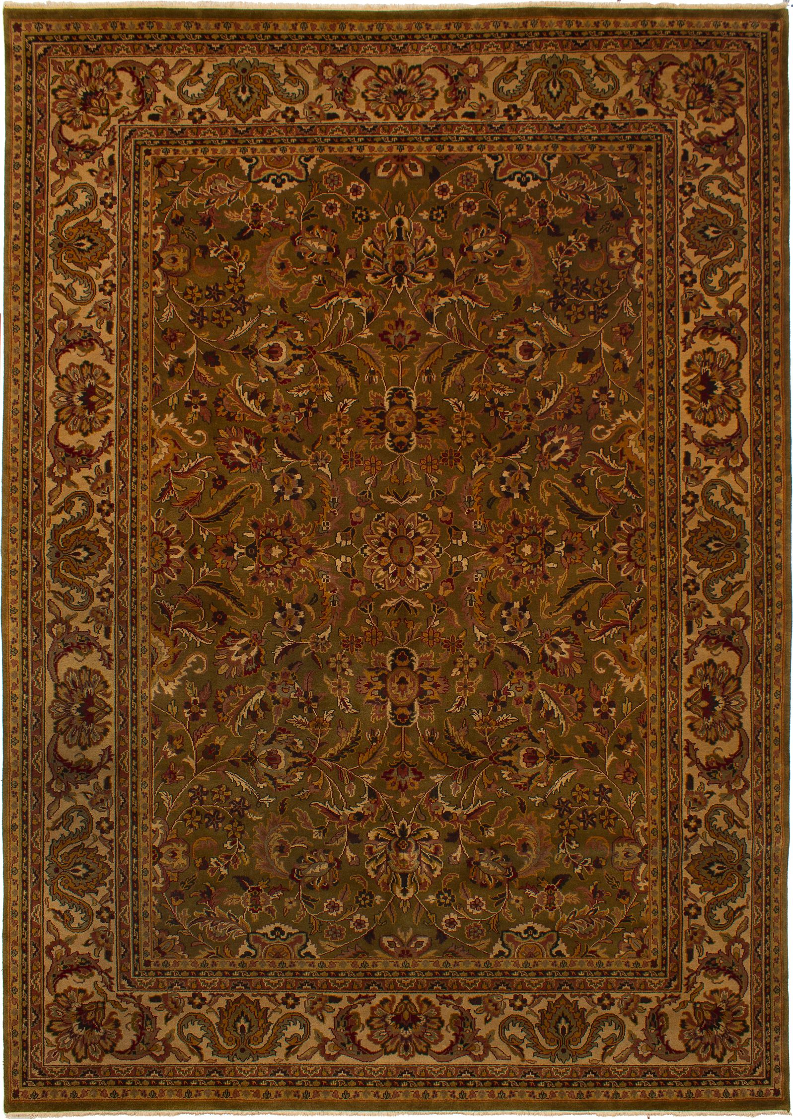 """Hand-knotted Finest Agra Jaipur Dark Olive Green,  Wool Rug 9'8"""" x 13'8"""" Product Image"""