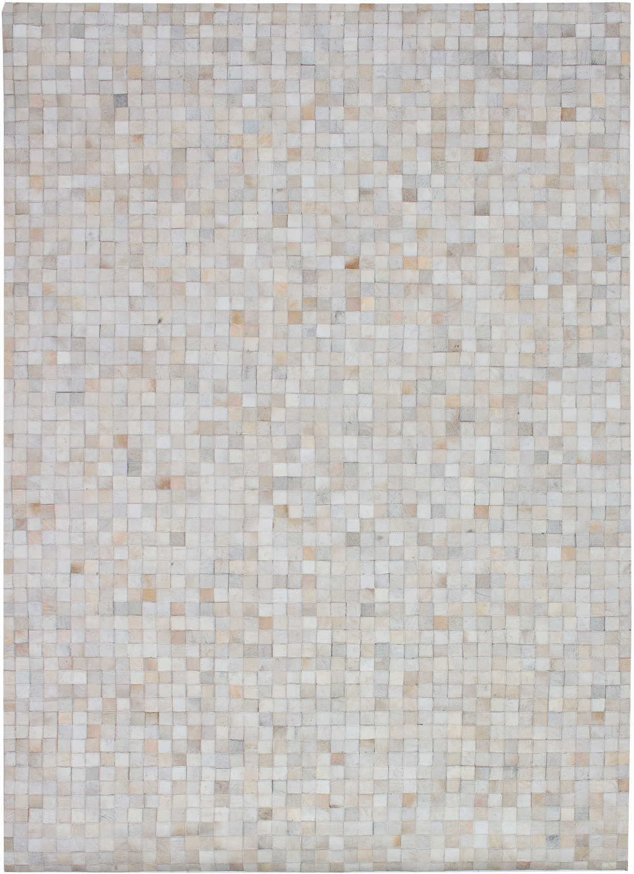 """Handmade Cowhide Patchwork Ivory Leather Rug 5'6"""" x 7'8"""" Size: 5'6"""" x 7'8"""""""