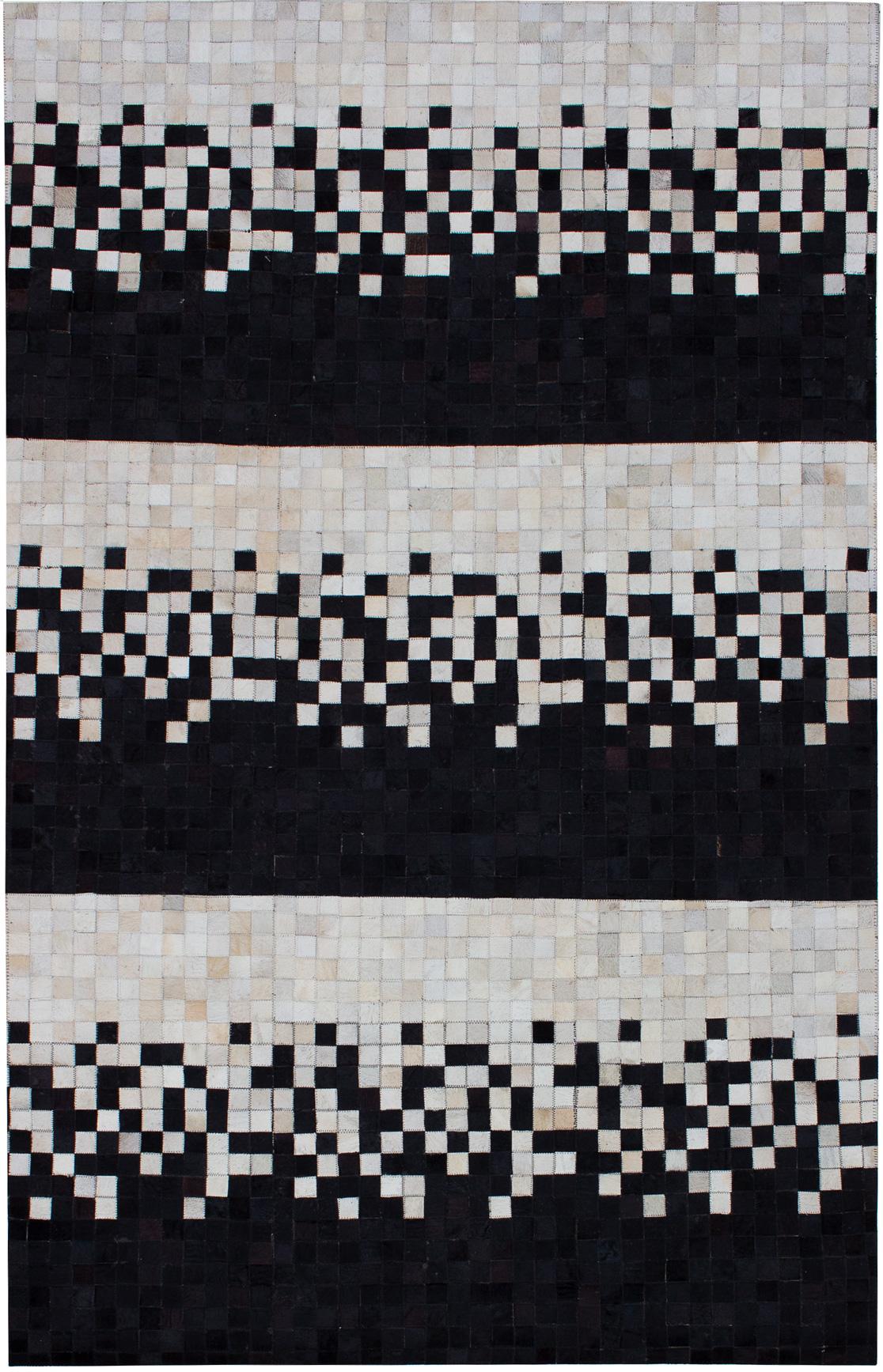 "Handmade Cowhide Patchwork Black, Cream Leather Rug 5'0"" x 7'11"" Size: 5'0"" x 7'11"""