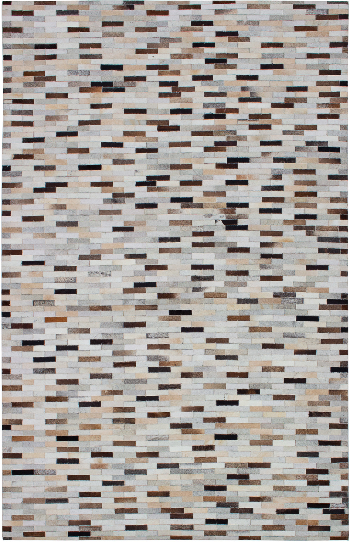 """Handmade Cowhide Patchwork Beige,  Leather Rug 5'0"""" x 8'0"""" Size: 5'0"""" x 8'0"""""""